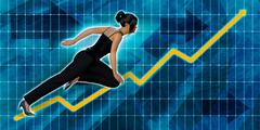 Asian Businesswoman Running with Chart Graph Background Stock Illustration
