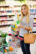 Customer in a supermarket - stock photo