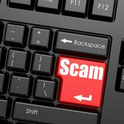 Red enter button on computer keyboard, Scam word - stock illustration