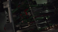 Engine room inside a historic steamboat at the elbe river in Dresden, Germany - stock footage