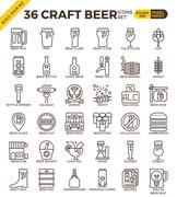 Craft Beer icons - stock illustration