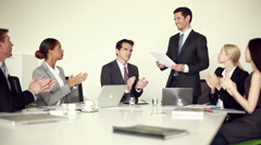 Business team applauding speaker during meeting Stock Footage