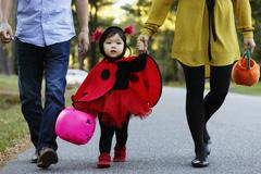 Girl dressed as ladybird with trick or treat bucket Stock Photos