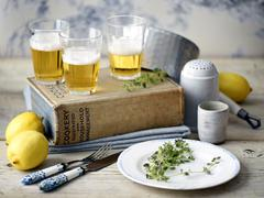 Beer, lemon, thyme, cook book - stock photo