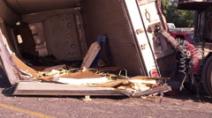 Tractor Trailer Crashed Lying On Side Handheld Stock Footage