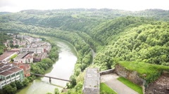 The Doubs River winding through Besancon, Franche-Comte, France Stock Footage