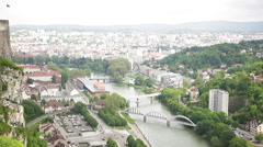 View of the River Doubs through Besancon, Doubs, Franche-Comte, France Stock Footage