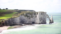 Natural arch on the coast Etretat in Normandy, France Stock Footage