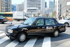 taxi in the Shin-Ohashi-dori Street - stock photo