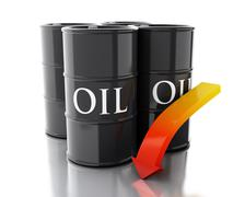 3d Four barrels of oil with an arrow pointing down. Stock Illustration