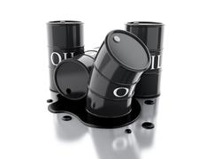 3d Four barrels of oil spilled. - stock illustration