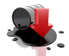 3d One barrel of oil spilled with an arrow pointing down. - stock illustration