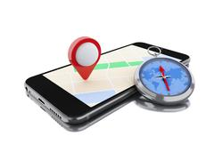 3d Smartphone with a map, red pointer and a compass. Stock Illustration