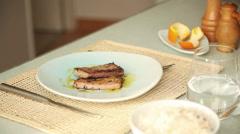 Seasoning seared tuna Stock Footage