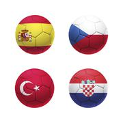 3D soccer ball with group D teams flags - stock illustration