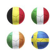 3D soccer ball with group E teams flags - stock illustration