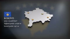 3D animated Map of Kosovo - stock footage