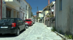 Street of of Greek coastal town Stock Footage