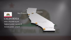 3D animated Map of California Stock Footage