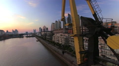 Crane on bank of Rio de la Plata, Buenos Aires, Argentina Stock Footage