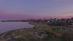 Bank of Rio de la Plata with city skyline in distance - stock footage