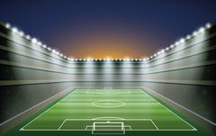 Soccer Stadium with spot light. vector illustration Stock Illustration