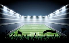 Excited crowd of people at a soccer stadium. - stock illustration