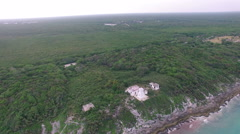 4K Aerial drone shot mexico pan around ruin on hill Stock Footage