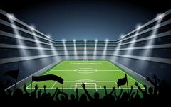 Excited crowd of people at a soccer stadium. Stock Illustration