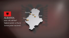 3D animated Map of Albania - stock footage