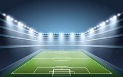 Soccer Stadium with spot light. vector illustration Stock Illustration