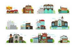 Hotel guest house hostel set of different buildings Stock Illustration
