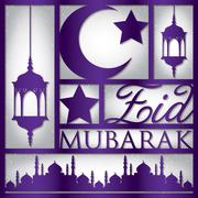 """Paper cut out """"Eid Mubarak"""" (Blessed Eid) card in vector format. Stock Illustration"""