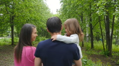 Happy Family on the Walk in Forest Stock Footage