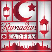"Paper cut out ""Ramadan Kareem"" (Generous Ramadan) card in vector format. Stock Illustration"