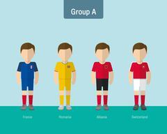 soccer uniform group A. flat design. - stock illustration