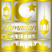 "Paper cut out ""Ramadan Kareem"" (Generous Ramadan) card in vector format. Stock Illustration"