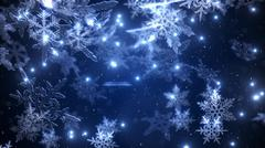 Snowfall with a  falling fluffy snowflakes  at the night sky closeup - stock illustration