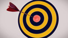 Red dart arrow hitting in the target center of dartboard with a white backgro - stock illustration
