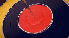 Dart arrow hitting in the target center of dartboard closeup Stock Illustration