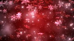 snowfall with a beutiful snowflakes against a red background. christmas backg - stock illustration