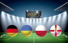 Soccer Stadium with group C team flags. - stock illustration