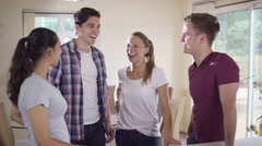 4K Portrait of happy smiling group of friends together at home.  Stock Footage
