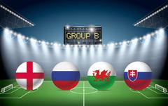 Soccer Stadium with group B team flags. - stock illustration