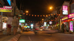 Phuket, Thailand, May 2016: Traffic in night road, time lapse - stock footage
