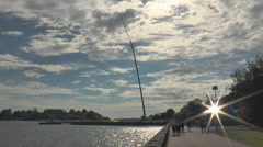 A tower for bungee jumping on the waterfront in Helsinki. - stock footage