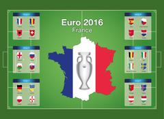 Euro 2016 football championship group stages. - stock illustration