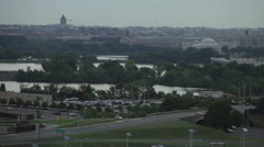 Washington DC cityscape and Potomac River on overcast day Stock Footage