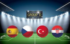 Soccer Stadium with group D team flags. - stock illustration