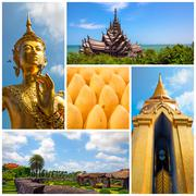 Thailand travel collage - stock photo